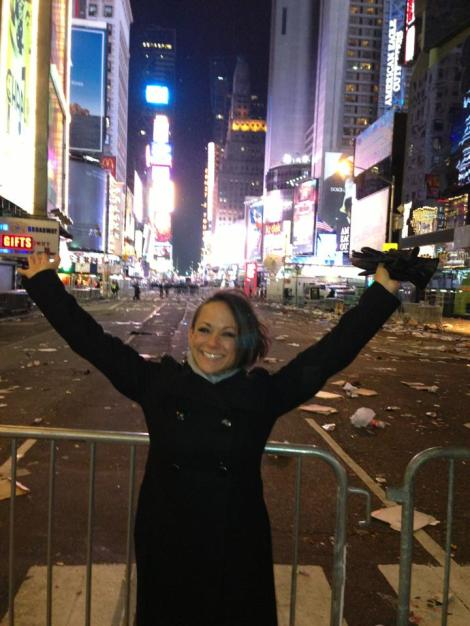 Watching the ball drop in Times Square - an item on her bucket list