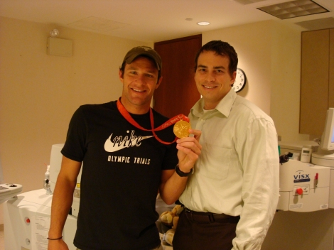 Dell Laser Consultant LASIK patient and Olympic gold medalist Brendan Hansen with Dr. Cunningham