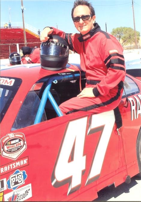 Henri in racecar