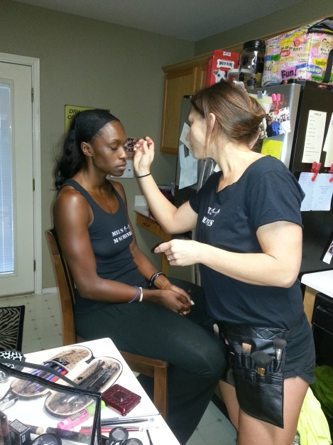 Mel doing Tiffany's make-up
