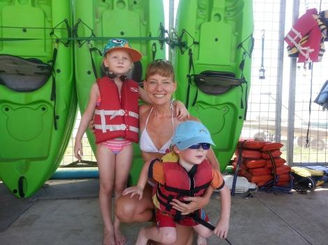 Lisa with kids at lake