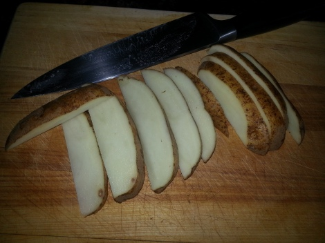 Slice potatoes