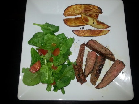 Steak and Oven Fries with spinach salad
