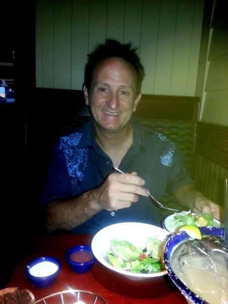 Henri with crab leg dinner