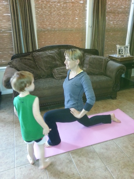 Runner's Stretch lunge with Little Henry
